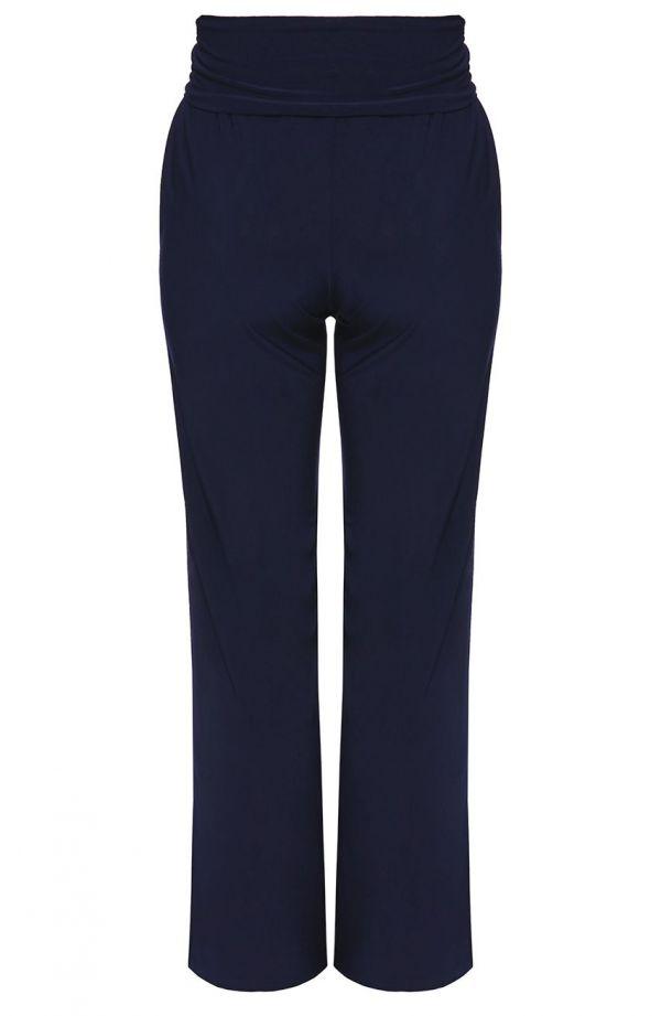 Granatowe spodnie z ozdobnym pasem