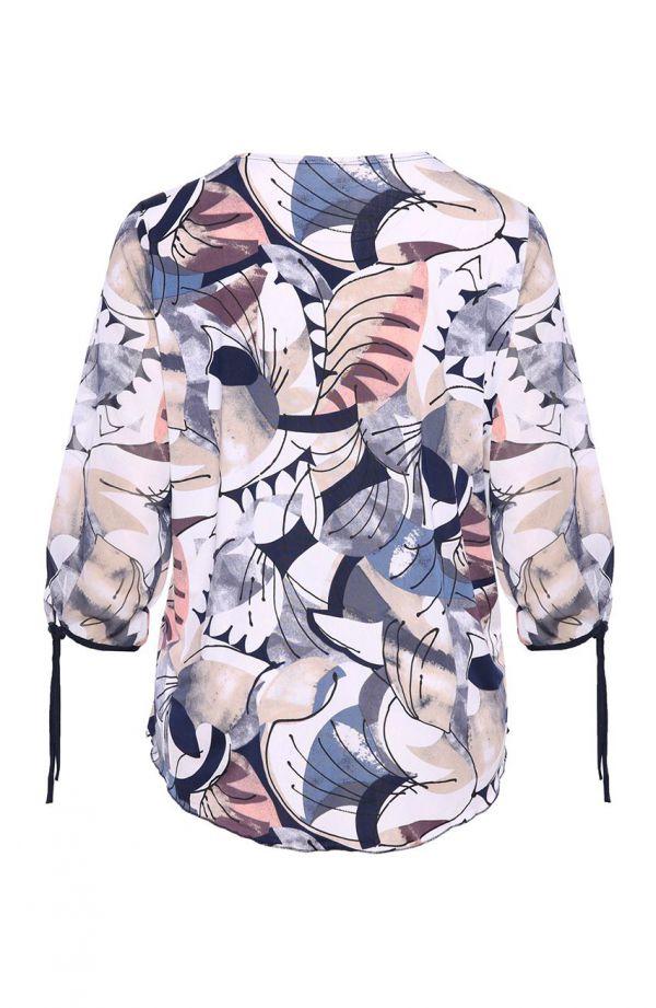 Bluzka ze zwiewnymi rękawami granatowy picasso - moda xxl