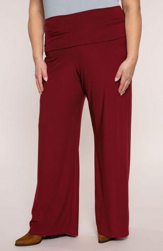 Bordowe spodnie z wyszczuplającym pasem