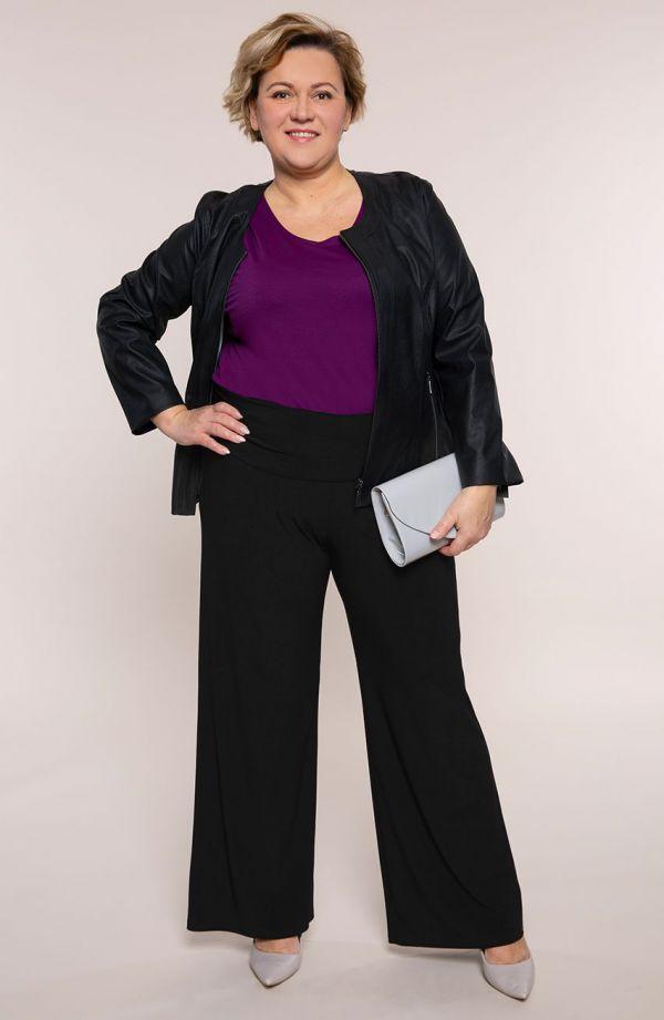Czarne spodnie z ozdobnym pasem