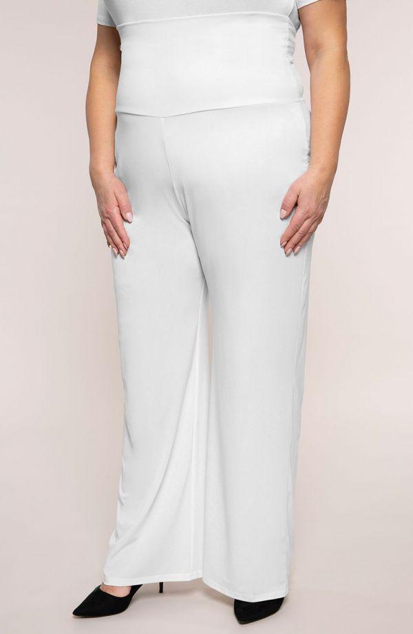 Białe spodnie z wyszczuplającym pasem