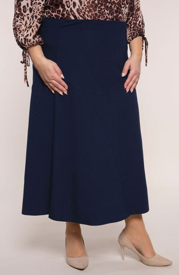 Granatowa dzianinowa spódnica kloszowa