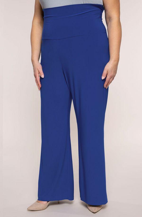 Chabrowe spodnie z wyszczuplającym pasem