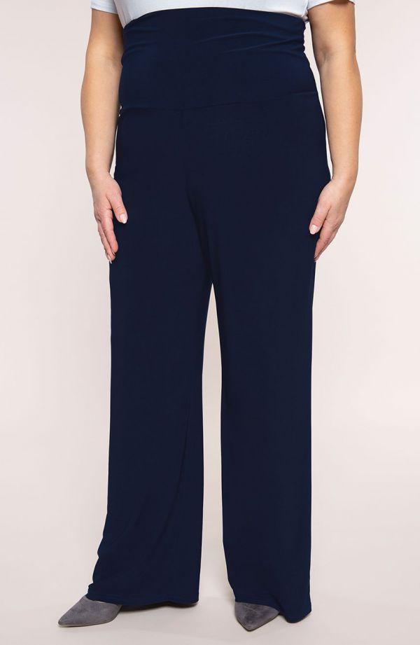 Granatowe spodnie z wyszczuplającym pasem