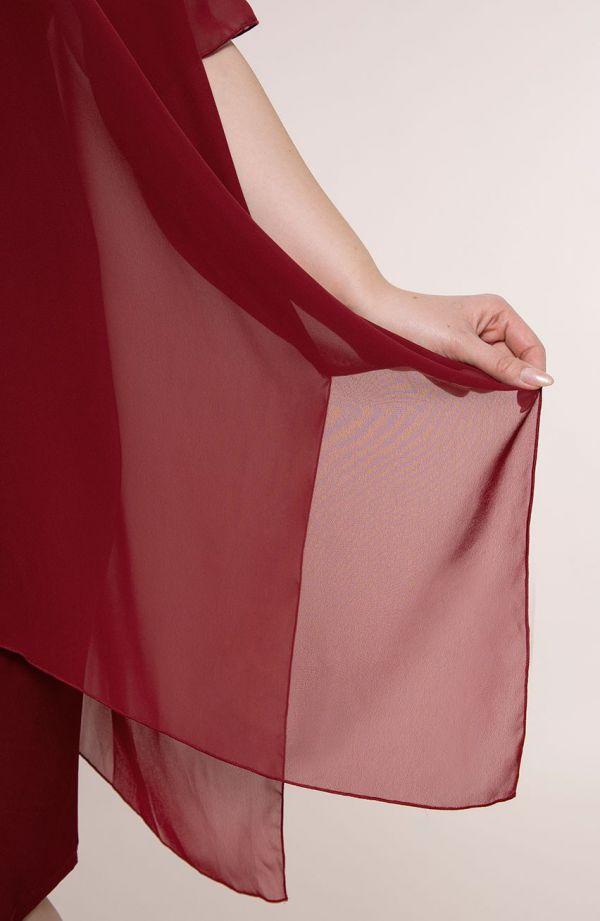 Bordowa asymetryczna sukienka z szyfonem