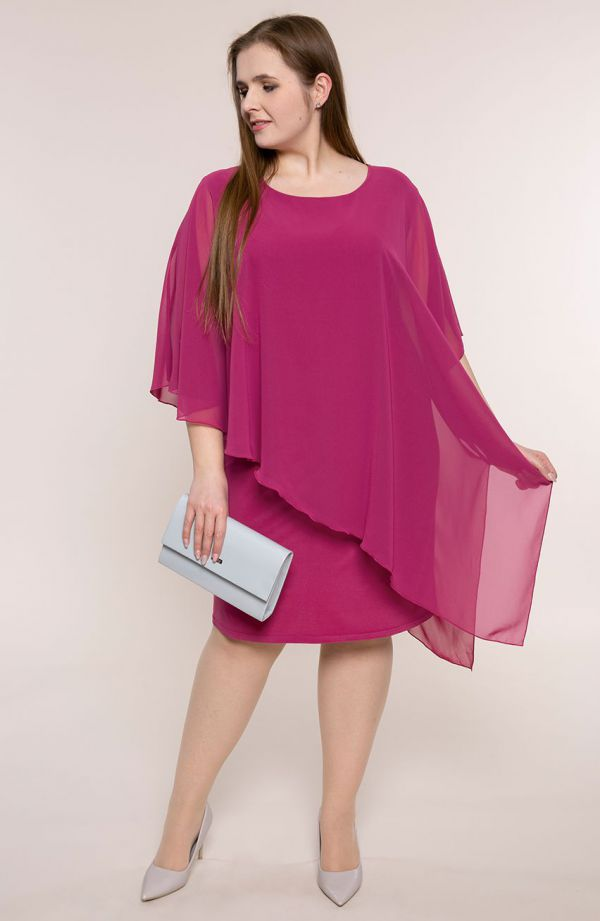 Amarantowa asymetryczna sukienka z szyfonem