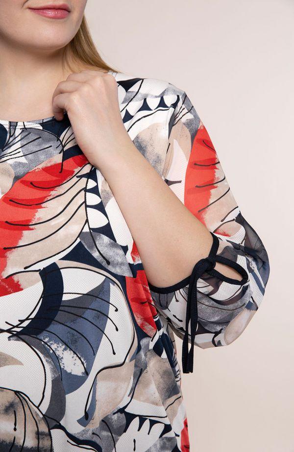 Bluzka ze zwiewnymi rękawami czerwony picasso<span> - moda xxl</span>
