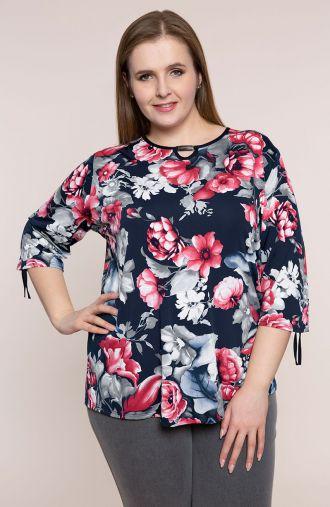 Wizytowa bluzka w różowe piwonie - moda xxl