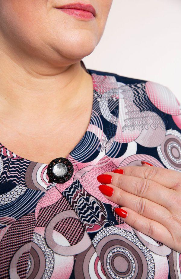 Dwuczęściowy komplet w różowe pierścienie<span> - moda xxl</span>