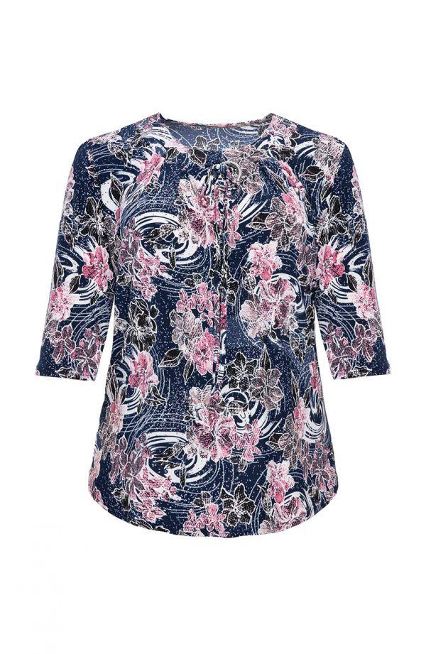 Bluzka w różowe kwiaty z ozdobną klamrą<span> - moda xxl</span>