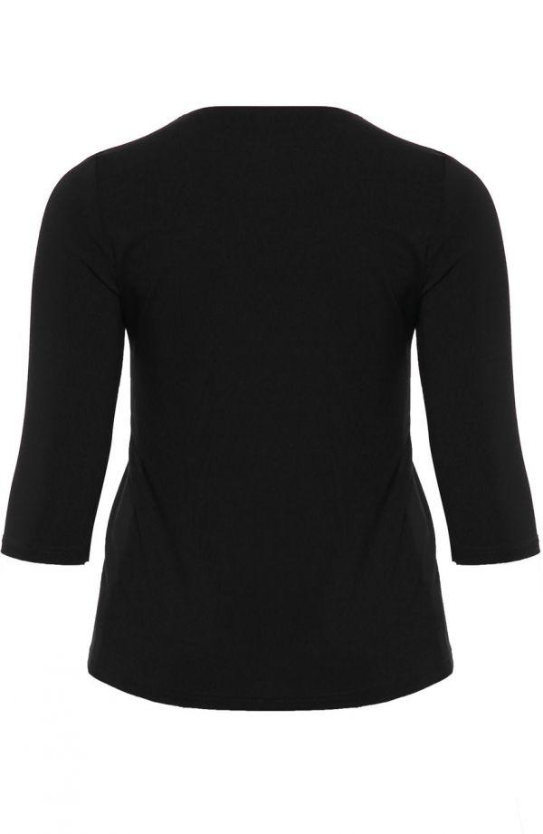 Czarna bluzka z dżetami z wiskozy
