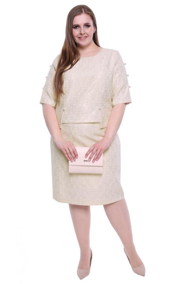 Sukienka z perełkami w kremowym kolorze