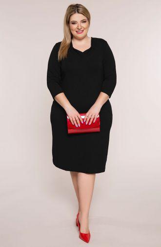 Czarna sukienka z dzianiny z dekoltem w serek