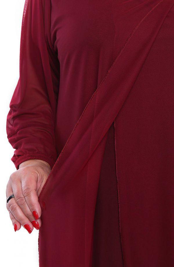 Wiśniowa szyfonowa tunika wizytowa