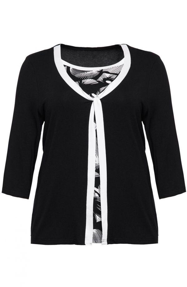 Dwuwarstwowa bluzka białe ćmy<span> - moda xxl</span>