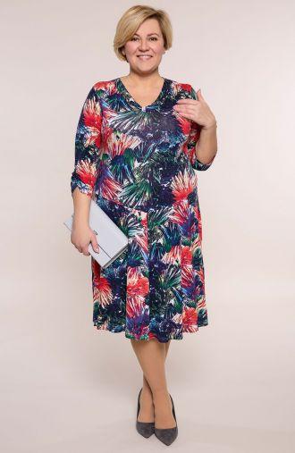 Rozkloszowana sukienka kolorowa dżungla
