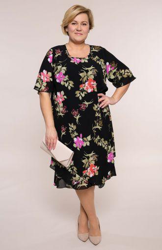 Asymetryczna sukienka świeże kwiaty