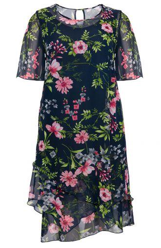 Asymetryczna sukienka kwiecisty ogród