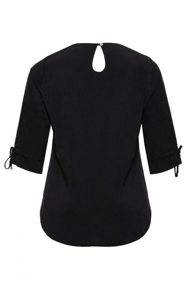Kruczoczarna bluzka wizytowa<span> - moda xxl</span>