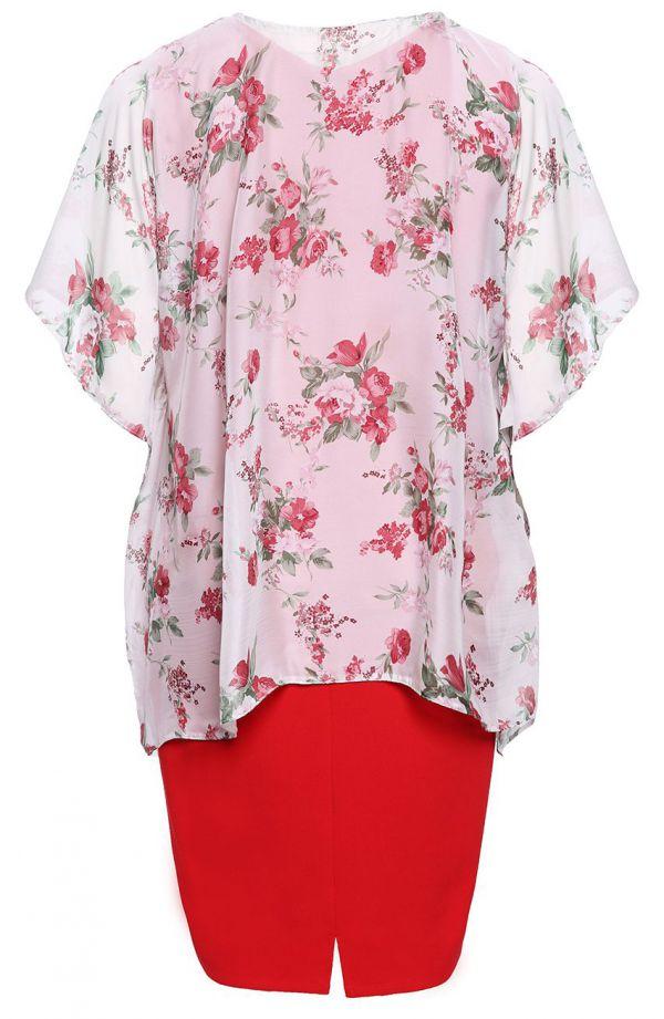Czerwona sukienka z kremową narzutką w róże