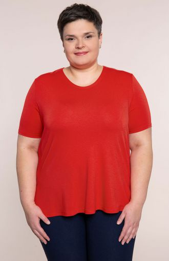 Koszulka z wiskozy w kolorze karmazynowym - moda xxl