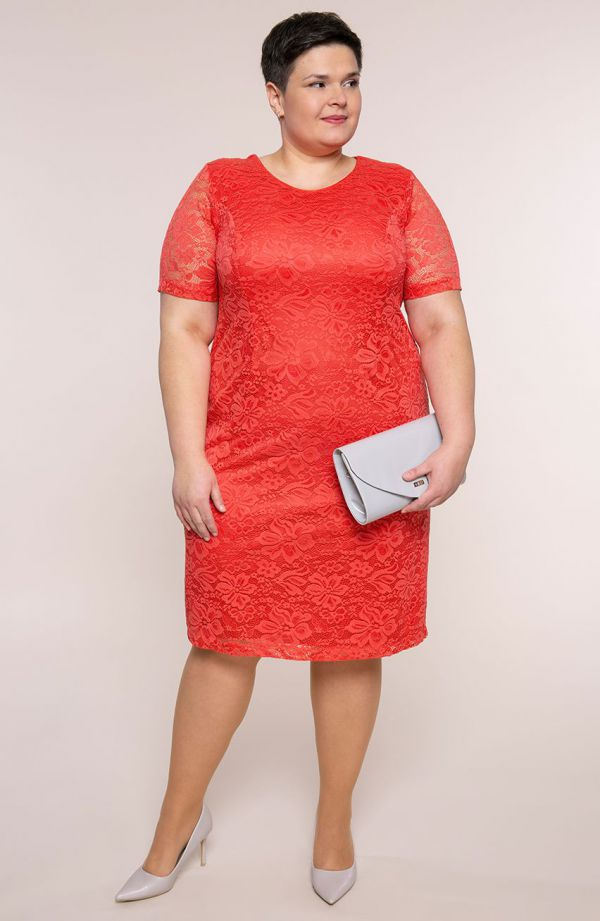 Koralowa koronkowa sukienka z krótkim rękawem