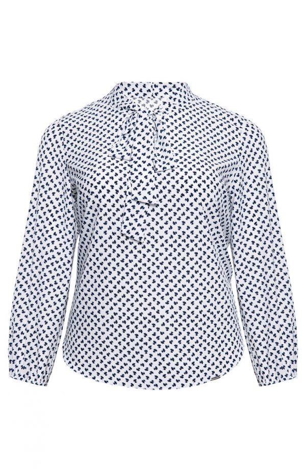 Elegancka biała koszula w koniczynki<span> - moda xxl</span>