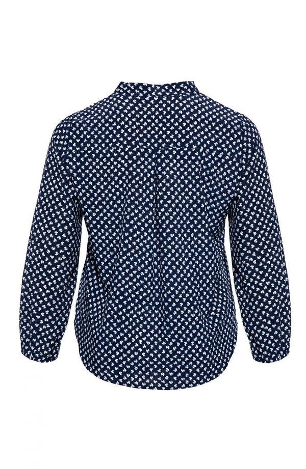 Elegancka granatowa koszula w koniczynki<span> - moda xxl</span>