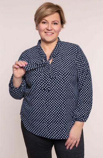 Elegancka granatowa koszula w koniczynki