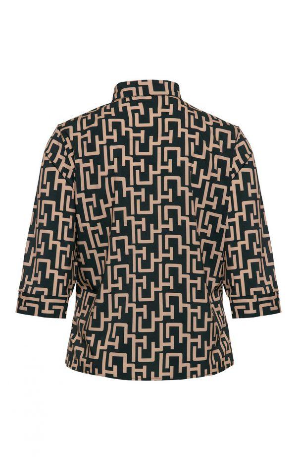 Czarna koszula w geometryczny wzór