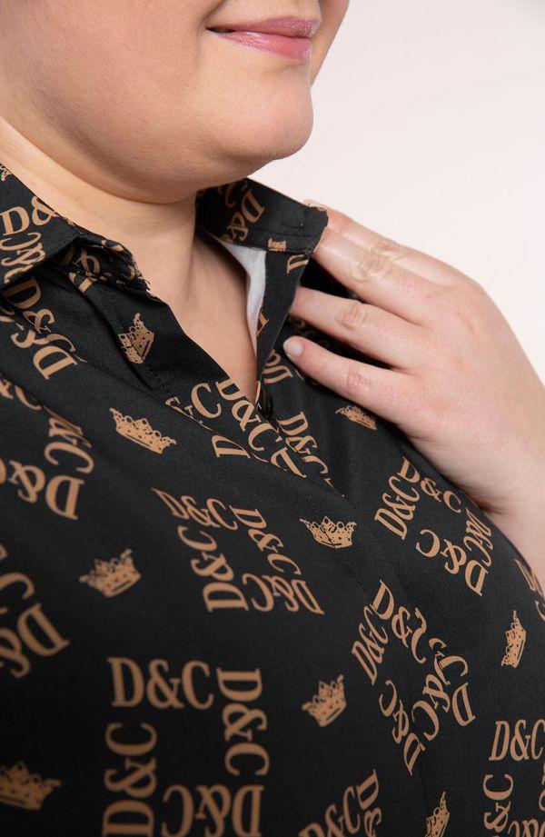Czarna koszula z królewskim motywem