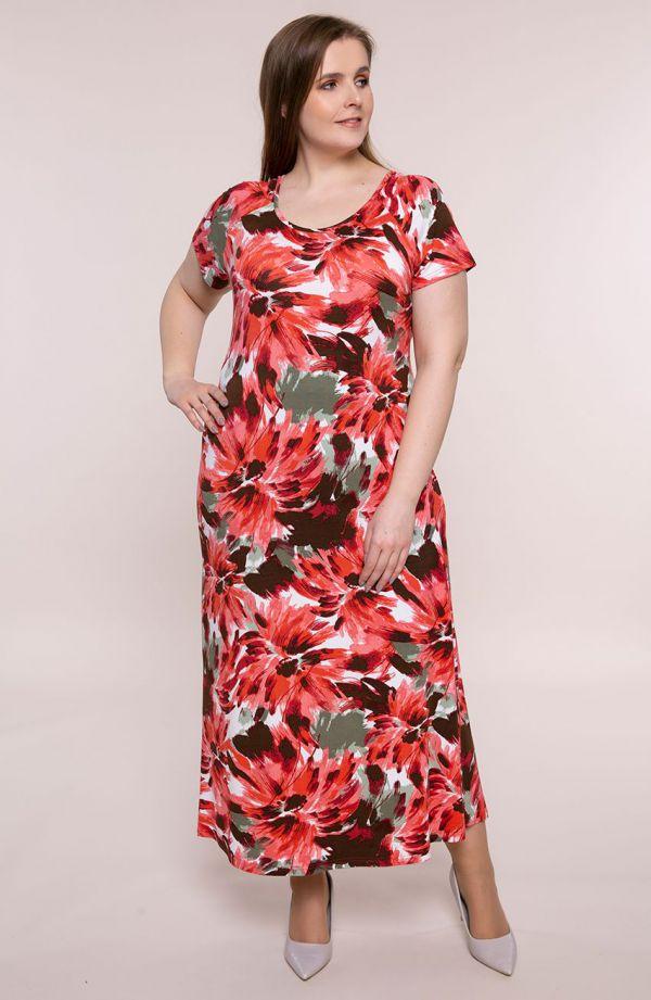 Długa sukienka barwne kwiaty