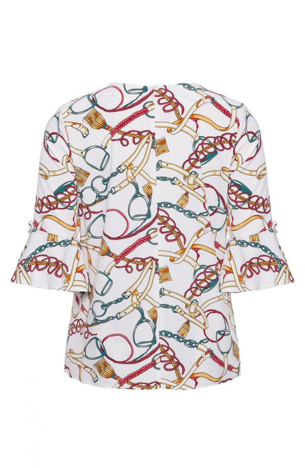 Bluzka hiszpanka we wzór w paski i frędzle<span> - moda xxl</span>