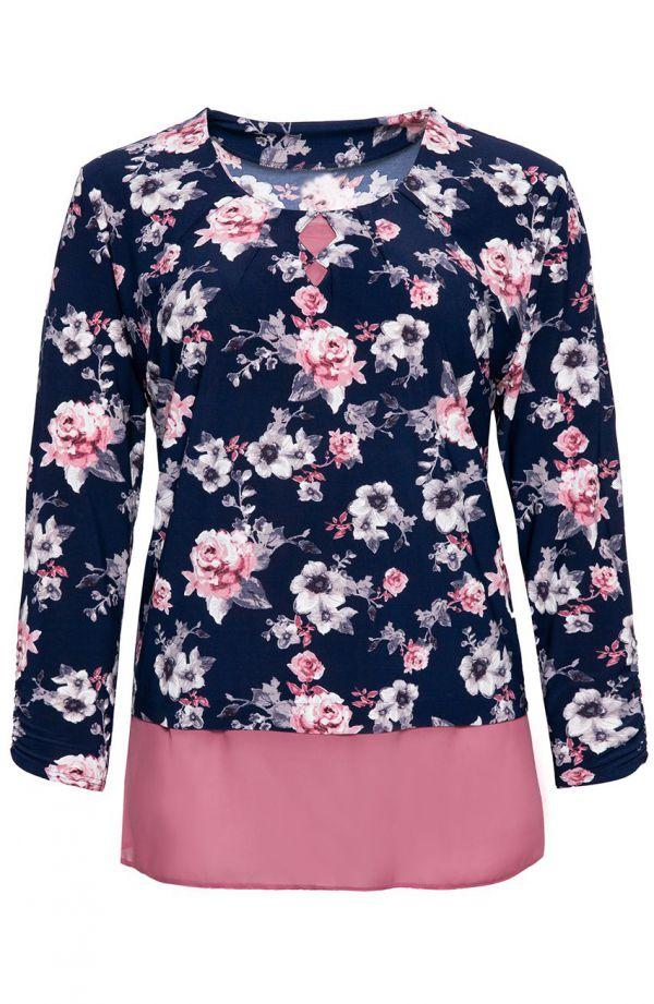 Granatowa bluzka tchnienie wiosny<span> - moda xxl</span>