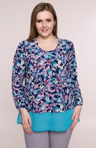 Granatowa bluzka niebieski taniec liści