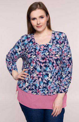 Granatowa bluzka różowy taniec liści
