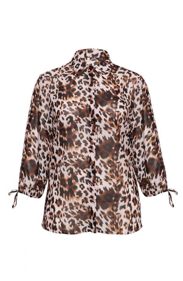 Beżowa koszula w lamparcie cętki
