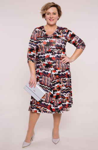 Rozkloszowana sukienka mozaikowa jodełka