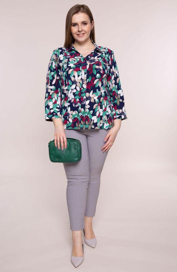 Granatowa koszula wielobarwne listki