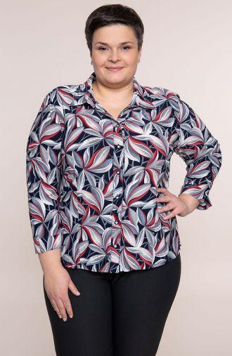Granatowa koszula w szare liście