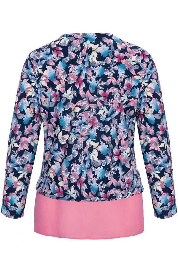 Granatowa bluzka różowy taniec liści - moda xxl
