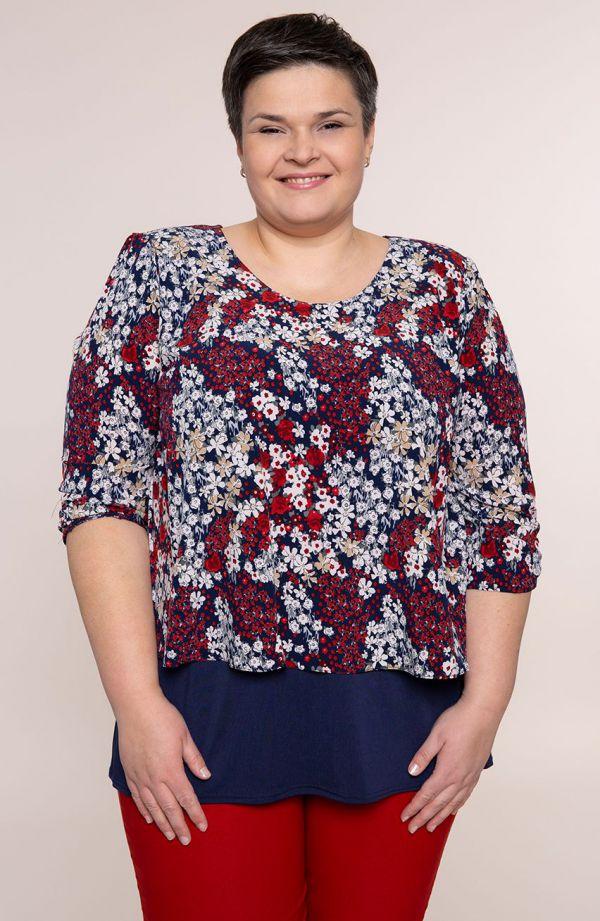 Granatowa bluzka kwiatowa łączka - moda xxl