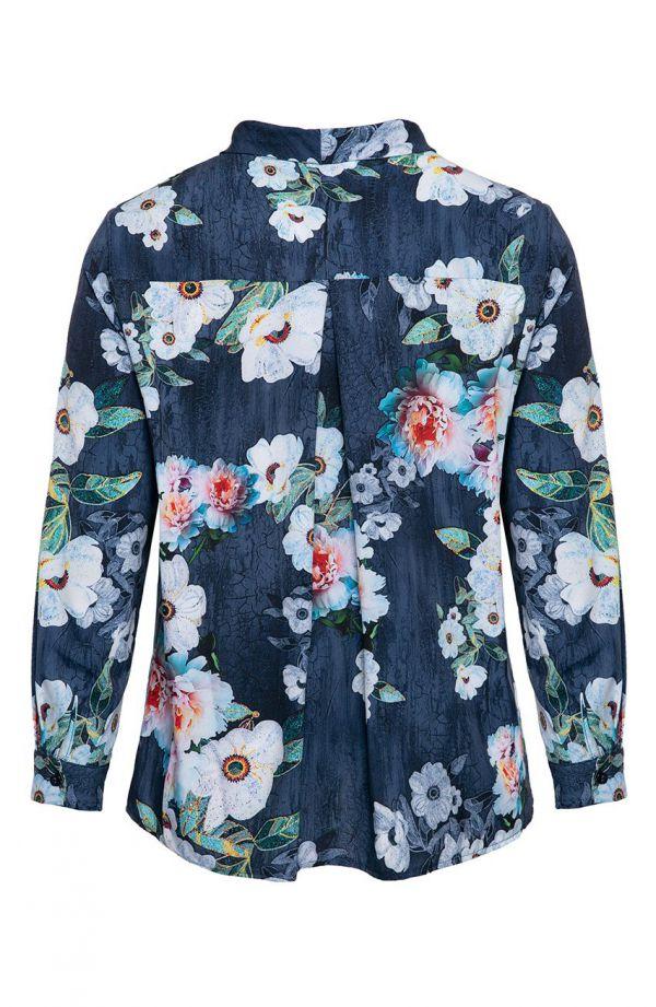 Granatowa koszula kwiatowy czar