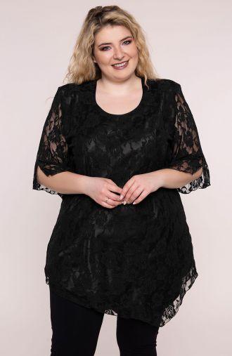 Tuniki damskie - czarna tunika z kwiatową koronką