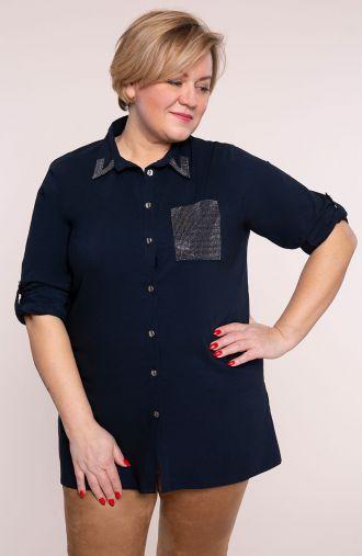 Granatowa koszula tunikowa z dżetami