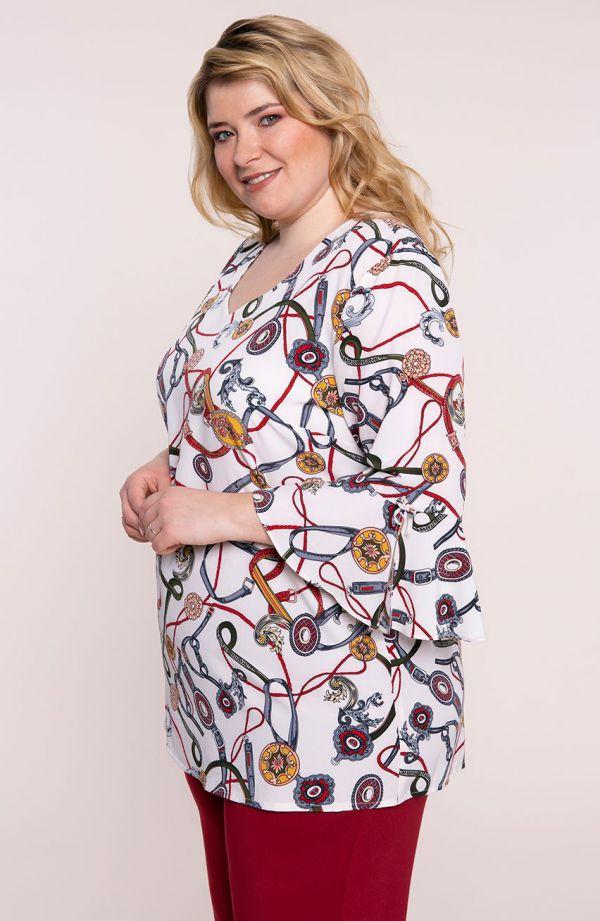 Bluzka hiszpanka we wzór w paski - moda xxl
