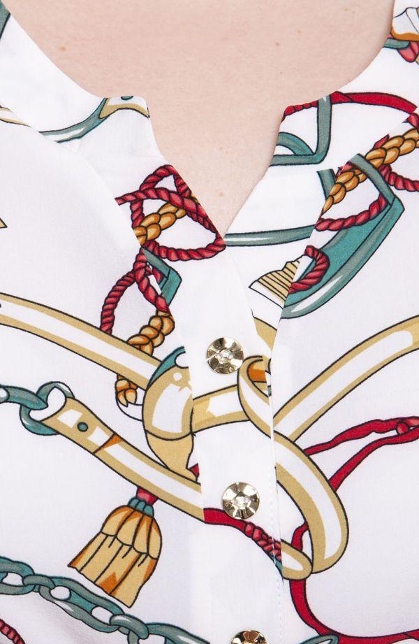 Klasyczna bluzka we wzór w paski i łańcuchy - moda xxl
