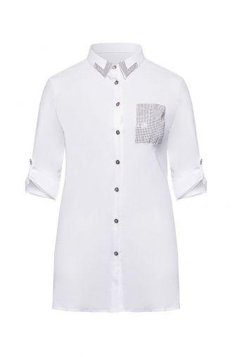 Biała koszula tunikowa z dżetami