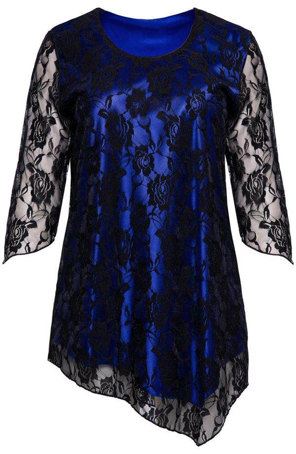 Tuniki dla puszystych - niebieska tunika z kwiatową koronką