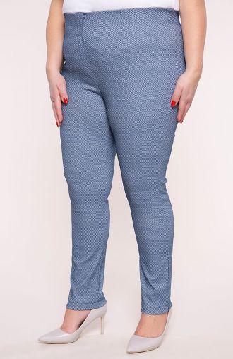 Wyjściowe spodnie cygaretki niebieska jodełka